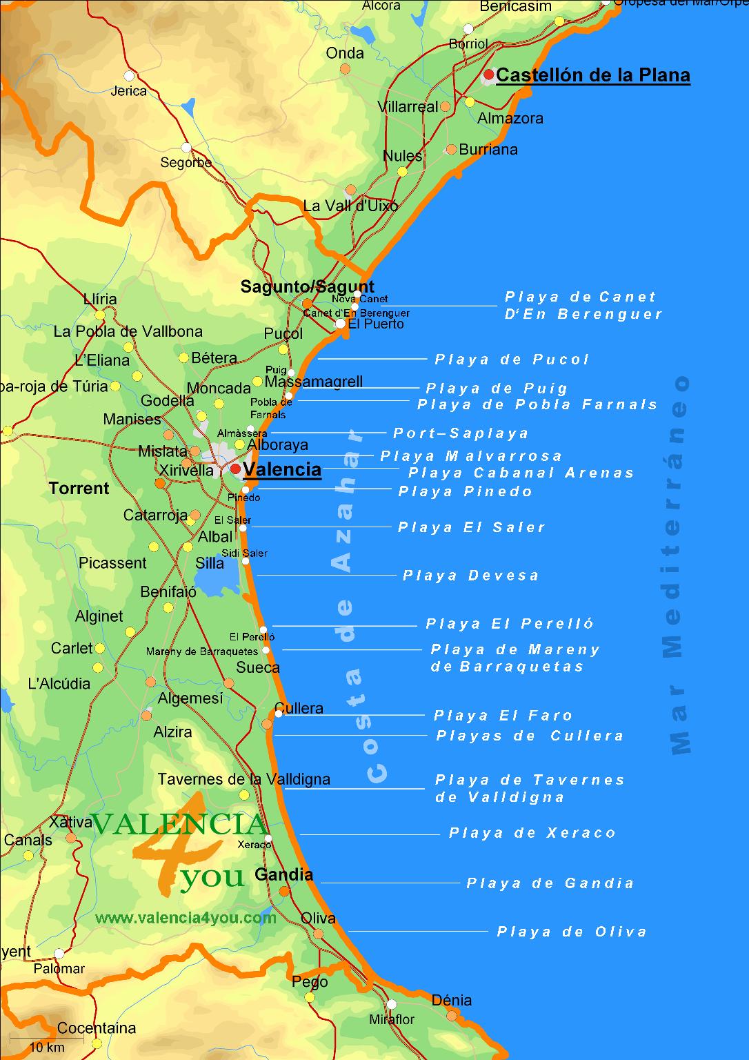Spanien Karte Küsten.Valencia Aktiv Meer U Strände